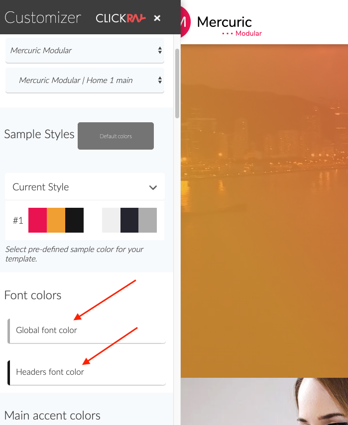 Change font colors with customizer