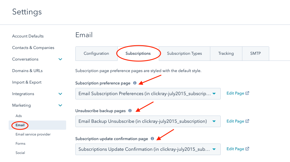 How to set subscription sites